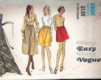 Vintage 1970's Vogue 7857 Retro Skirt in Four Lengths Sewing Pattern Size Waist 24""