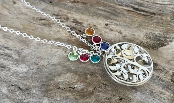 Mothers gift/Family Tree Birthstone Necklace / Mothers Necklace / Lots of Birthstones / Grandmother Locket