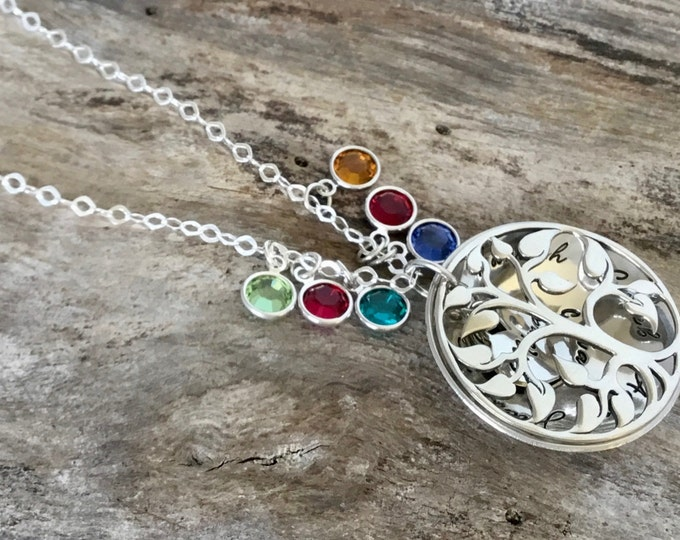 Family Tree Birthstone Necklace / Mothers Necklace / Lots of Birthstones / Grandmother Locket