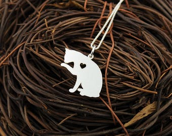 Cat necklace Personalized Engraveable sterling silver kitty cat pendant With Heart - Love Pet Jewelry Best Cute Gift Pet or Memorial Gift
