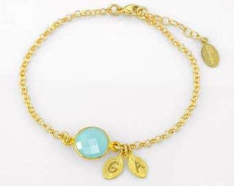 Personalized Aqua Chalcedony March Birthstone Bracelet, Aquamarine bracelet, light blue wedding - Bridesmaids Bracelet - Wedding Bracelet