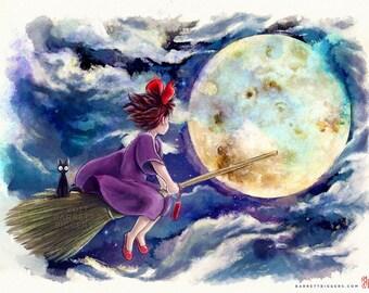 Witch Night Flight Kiki and Jiji Miyazaki tribute watercolor painting signed museum quality giclée fine art print