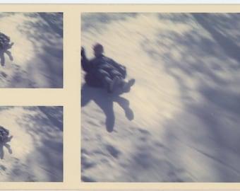 Vintage Snapshot Photo: Snow Tubing, c1970s (72546)