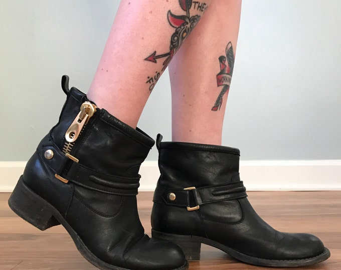 Motorcycle Leather Ankle Boots w/ Gold Zipper