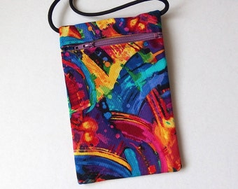 Pouch Zip Bag Bright RAINBOW Fabric. Great for walkers, markets, travel.  Cell Phone Pouch. Small fabric purse Bike trike pouch 6.75x4.25""