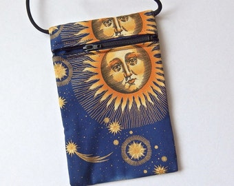 Pouch Zip Bag SUN Stars Moon on BLUE Fabric. Great for walkers, markets, travel. Cell Phone pouch. Small fabric Purse. Celestial 6.75x4.25""