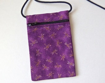 Pouch Zip Bag DRAGONFLY Fabric - Great for walkers, markets, travel. Cell Phone Pouch Small Fabric coin Purse. Purple with gold accents.