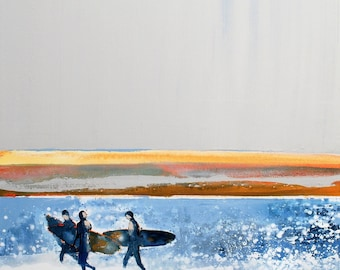 "SURF WALL ART of ""Morning Surfers"" by Melanie McDonald - surf wall decor - print of surfer - surfer artwork - gifts for him - surfer picture"