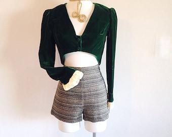 Vintage 1960s or 1970s Cropped Emerald Green Velvet Jacket or Blouse or Bolero