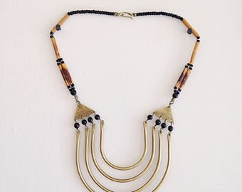 Vintage Tribal Ethnic Gypset Brass Necklace