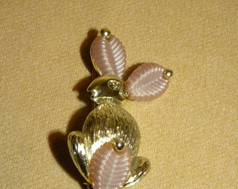 Vintage Marboux Rabbit Brooch Pin Pink Lucite Leaves