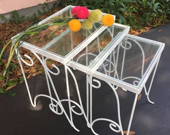 PATIO NESTING TABLES-Metal White Nesting Tables-Shabby Chic Nesting Tables-Romantic Home-Hollywood Regency-Shabby Chic at Ageless Alchemy