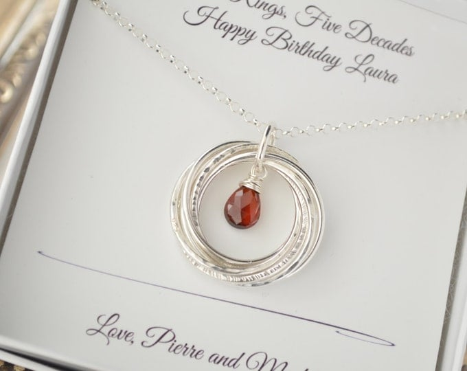 50th Birthday gift for wife, 50th Birthday gift for women, Garnet birthstone jewelry, January birthstone, Gift for mom, Sister necklace