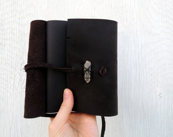 Dark brown leather journal / ready to ship.
