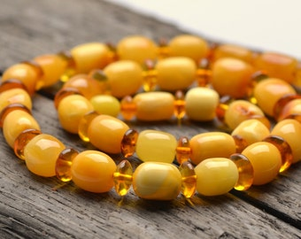 Rare Butterscotch Color Amber Necklace - Casual Amber Necklace - Genuine Baltic Amber