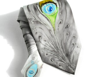 Peacock Tie. Man Hand Painted Silk Tie. Silver Grey Tie. Genuine Art on Silk. Man Birthday Gift for Him. Anniversary Present. Ready to Ship.