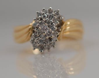 Vintage 1/2 Carat cttw Diamond Cluster Waterfall Ring Round Brilliant Cut 14k Yellow Gold