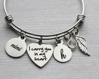 Mimi - I Carry You In My Heart Bracelet, Mimi Memorial, Mimi Sympathy, Mimi Memorial Gifts, Mimi Sympathy Jewelry, Loss of Mimi Gifts, Mimi