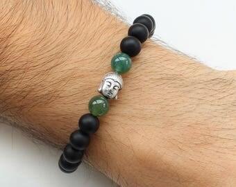 Buddha bracelet, mens bracelet, matte black onyx bracelet, mens buddha bracelet, boyfriend gift, yoga beads bracelet, green agate