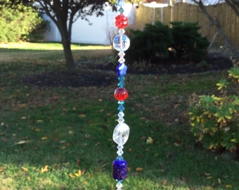 Free Shipping - Harmony - Red White Blue Suncatchers/Meditation Heart Prisms/Red White Blue Czech Glass Suncatchers/Czech Glass Prisms