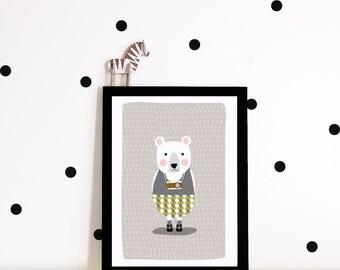 Nursery art, nursery poster, kids poster, Kids room art print, bear poster, bear art print