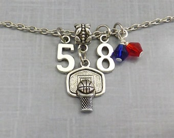 Basketball Gift, Basketball Necklace with Player Number Team Colors, Basketball Mom, Coach Team Gift
