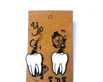 Show Me Your Teeth Charm Earrings, Molar Earrings, Dentist Charm Earrings