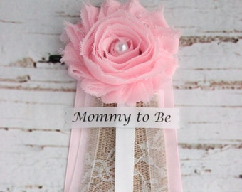 Pink Burlap Baby Shower Corsage, Mommy To Be Pin, Grandma To Be, Pink