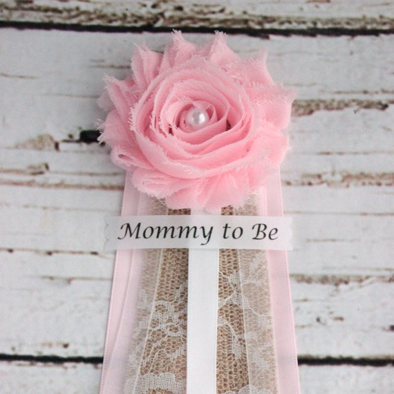 pink burlap baby shower corsage mommy to be pin grandma to