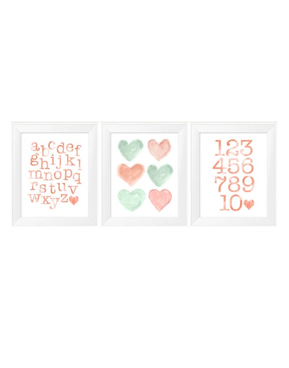 Coral and Mint Prints, 11x14 Set of 3 ABC, 123