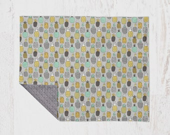 Pineapple Baby Blanket with Minky Backing Crib Bedding Nursery Decor Pineapple Bedding Pineapple Nursery Grey Yellow Pineapple Bedding