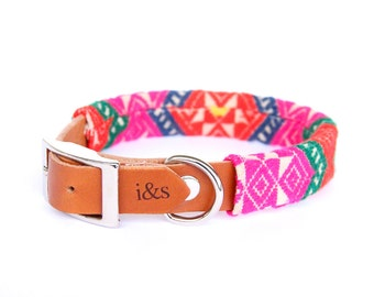 Dog Collar - Leather with Textile Sleeve // Neon Tapestry // Optional ID Tag