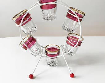 REDUCED Vintage 1950s Cherry Red Shot Glasses in Atomic Carousel Stand