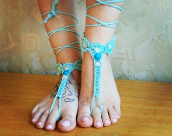 Turquoise beaded BAREFOOT sandles, beaded barefoot sandals, beach wedding aqua sandals, bohemian foot sandals, foot thongs, bottomless shoes