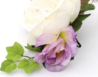 flower hair clip, rose barrette, flower barrette, floral hair piece, rose head piece, silk barrette, purple green white ivory bun holder