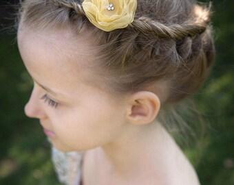 FLOWER HAIR CLIP with Swarovski crystals - Gold Organza