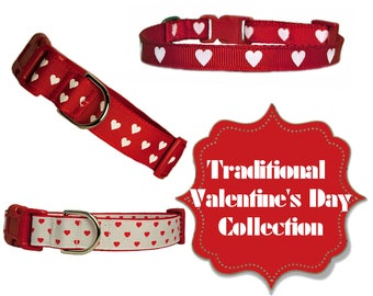 """Traditional Valentine's Day Collection 3/8"""", 5/8"""" and 1"""" Red Romantic Dog Collar"""