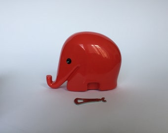 Vintage Colani Style Elephant Piggy Bank WITH KEY. Space Age. Red. German. Piggy Bank. Drumbo. Germany. 2017_023