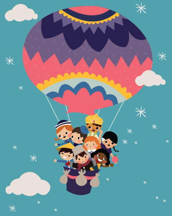 Original Color It's A Small World Children Balloon Clouds and Stars CUSTOMIZABLE sizes and colors - Digital Instant Download for Printing