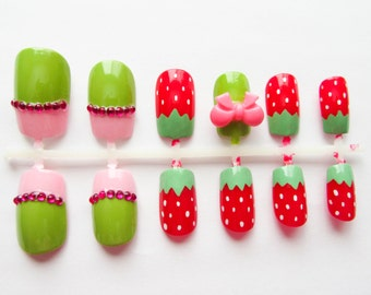 Strawberry Fake Nails, Kawaii Nails, 3D Nails, False Nails, Press on Nails, Cute, Bow, Strawberries, Sweet Lolita, Fake Nails