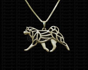 Japanese Akita Inu - Gold pendant and necklace