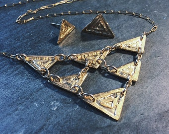 Tesselate // One of a Kind statement necklace with matching earrings // 14k gold plated brass // from Mod Evil