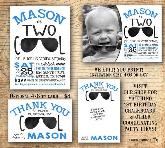 second birthday party invitation two cool shirt birthday, Birthday invitations