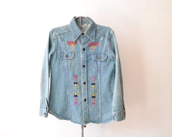 Vintage 1970s Embroidered hippie denim jacket shirt. Women's size 12, 'Sears Fashions' Unique, hand embroidered funk n flash