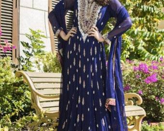 Navy Blue bridal dress, wedding dresses, Maxi dress, chiffon, silk, pakistani wedding, indian wedding, women clothes