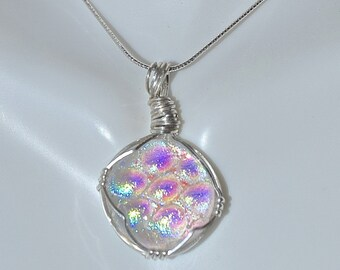 Dichroic Rainbow Cabochon Sterling Silver Necklace
