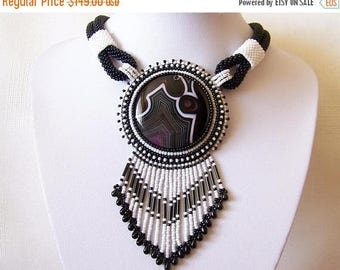 15% SALE Statement Bead Embroidery Necklace  - Pendant Beadwork Necklace with with Agate - DAY AND Night - black and white classic necklace