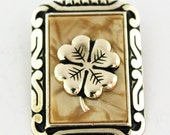 Lucky Clover Gold Coloured & Lucite Mother of Pearl Scarf Clip Ring (c1950s) - Made in Western Germany