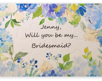 Ask Your Wedding Party with a PUZZLE. Bridesmaid, Flower Girl, Junior Bridesmaid, MOH Puzzle. Ask Bridal attendants to be in wedding