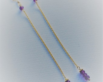 Extra long Amethyst and 14ct Goldfill earrings